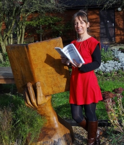 Proudly holding my copy of MORE RAW MATERIAL in the Sunnyside's Memoir Garden
